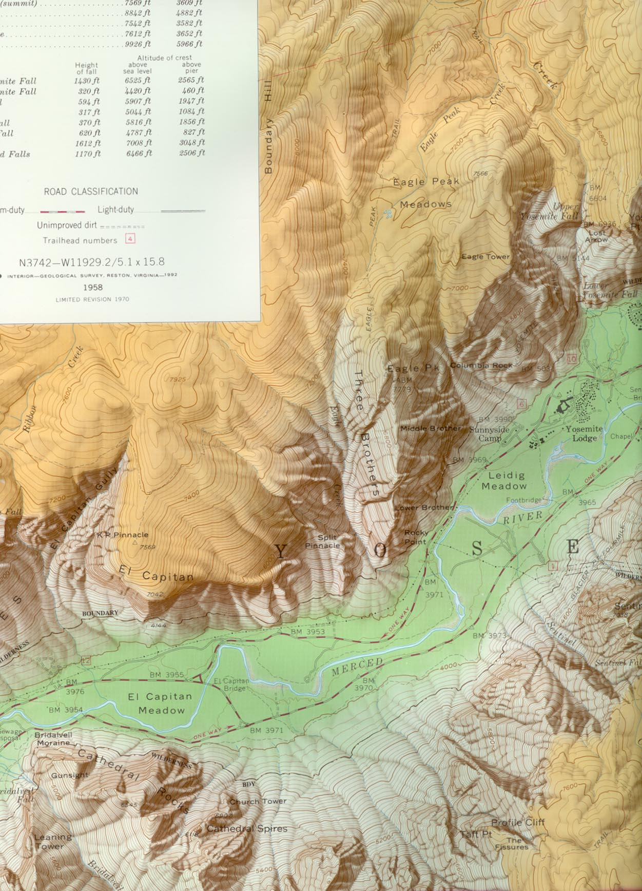 Yosemite Valley Topo Map Mid West Section